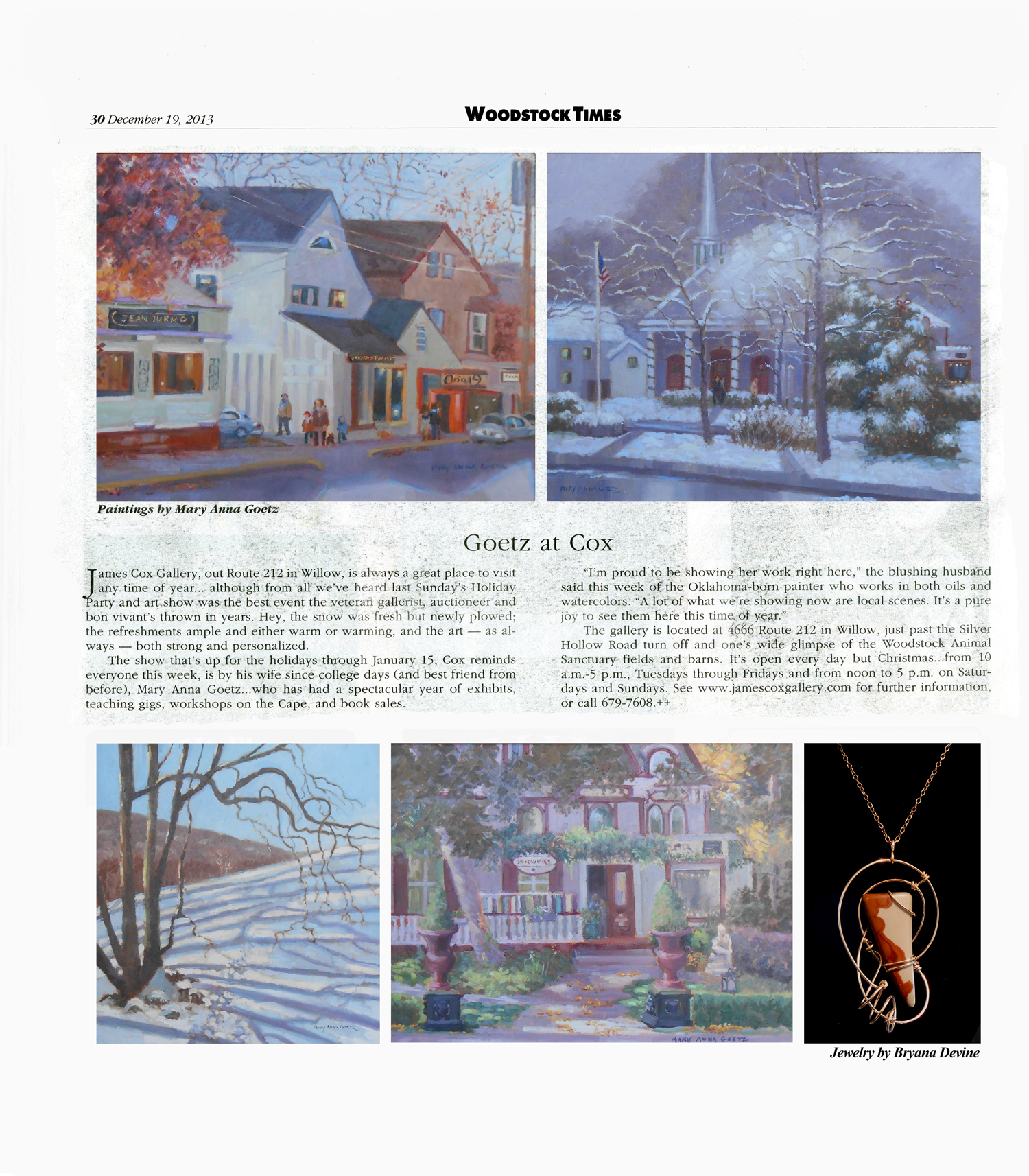 Mary Anna Goetz in Woodstock Times Dec 19 2013_small